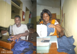 Foster and Judy are two tailors with KEVTC who helped to make over 3,500 washable sanitary pads