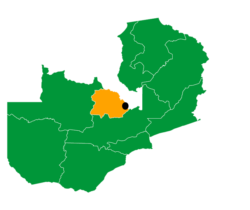 Map off Zambia higlighting the location of the Kabushi Entrepreneurship and Vocational Training Centre (KEVTC) with a black dot.